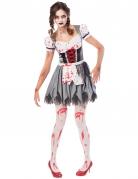 Oktoberfest-Zombie-Kostüm Tracht für Damen grau-weiss-rot