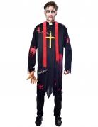 Zombie-Priester-Kostüm für Herren schwarz-rot