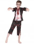 Zombie Schülerkostüm für Jungen schwarz-weiss-rot