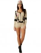 Ghostbusters™-Overall Damenkostüm Halloweenkostüm beige-schwarz