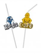 Flexible Star Wars™-Strohhalme Premium-Tischdeko Metalliceffekt 6 Stück bunt
