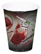 Blutige Halloween-Pappbecher 8 Stück grau-rot 250ml