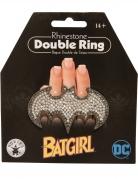 Batgirl™-Schmuck Doppelring Bat-Symbol mit Strassteinen schwarz-silber