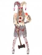 Zombie-Harlekin-Damenkostüm für Halloween schwarz-weiss-rot