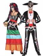 Elegantes Tag der Toten-Paarkostüm für Halloween bunt