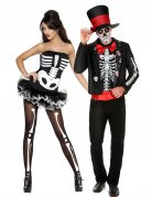 Skelett-Paarkostüm Dia de los Muertos schwarz-weiss-rot
