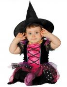 Süsse Hexe Baby-Kostüm pink-schwarz