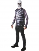 Skull Trooper-Shirt und Kopfbedeckung Fortnite™-Lizenzkostüm schwarz-weiss