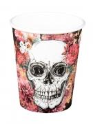 Totenschädel-Becher mit Blumen Halloween-Tischdeko 6 Stück 250ml