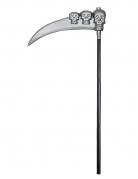 Schädel-Sense für Halloween grau-schwarz 103 cm