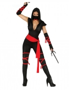 Ninja-Kostüm für Damen Halloween-Kostüm schwarz-rot