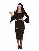 Böse Nonne Damenkostüm für Halloween schwarz-weiss-rot