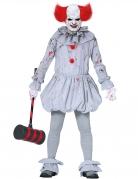 Psychoclown-Herrenkostüm für Halloween grau-rot