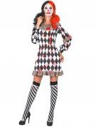 Killerclown-Damenkostüm schwarz-weiss-rot