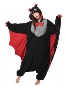 Kigurumi™ Fledermaus-Jumpsuit schwarz-rot-grau