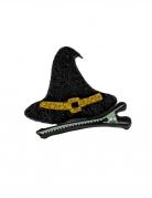 Hexen-Haarschmuck aus Filz Halloween-Accessoire schwarz-gold 5x5 cm