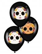 Halloween-Luftballons Dia-de-los-Muertos-Deko 6 Stück schwarz 28 cm