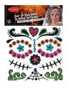 Dia de los Muertos Gesichts-Tattoos Sugar Tag-Der-Toten-Make-up Skull bunt
