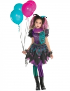 Verrücktes Harlekin-Kostüm für Mädchen lila-schwarz-türkis
