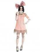Horrorpuppen-Kostüm für Damen rosa-weiss