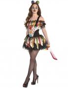 Horrorclown-Damenkostüm für Halloween bunt