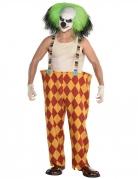 Psychoclown-Kostüm für Herren rot-gelb-grün