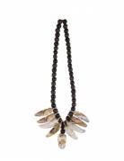 Düstere Voodoo-Halskette schwarz-braun-weiss