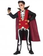 Vampir-Skelett Jungenkostüm schwarz-weiss-rot