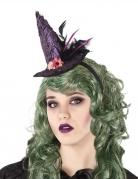 Hexen-Haarband mit Hut violett-rosa