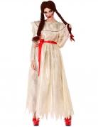 Retro-Horrorpuppe Damenkostüm für Halloween weiss-rot