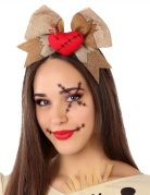 Voodoo-Puppe Haarband für Damen braun-beige-rot