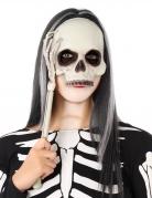 Totenkopf-Maske am Stiel schwarz-weiss