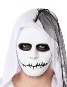 Psycho-Maske zugenähter Mund weiss-schwarz