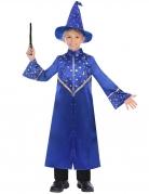 Magisches Zauberer-Kostüm für Kinder Halloweenkostüm blau-gold