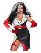 Böse Diva sexy Damen-Kostüm schwarz-weiss-rot