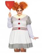 Horrorclown-Kostüm für Damen in Übergröße weiß-rot