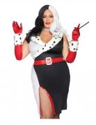 Gefährliche Diva Damen-Kostüm Plus Size schwarz-weiss-rot
