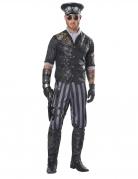 Steampunk-Kostüm für Herren Offizier schwarz-grau