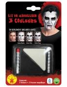Vampir-Make-up Schmink-Set 4-teilig schwarz-weiß-rot