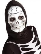 Skelett-Kindermaske mit Kapuze weiss-schwarz