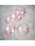Blutige Latexballons 5 Stück transparent-rot 30 cm