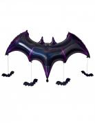 Fledermaus Aluminiumballon mit vier kleinen Fledermaus-Dekorationen schwarz-violett 130 x 80 x 20 cm