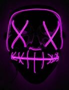 LED-Maske Horrorfilm für Erwachsene schwarz-violett
