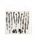 Skeletthände Halloween-Tattoos 12-teilig schwarz-weiß