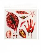 Blutige Wunden Halloween Abzieh-Tattoos 9 Stück rot