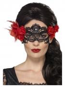 Filigrane Dia de los Muertos Augenmaske für Damen schwarz-rot