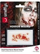 Unheimliche Zombie-Wunde Halloween-Tattoo für Erwachsene rot-weiß