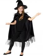 Hexen Zubehör-Set für Mädchen Hut und Umhang schwarz