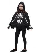 Junge Skelett-Dame Kinder-Kostüm schwarz-weiss