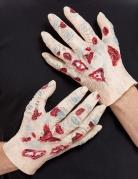 Zombie-Handschuhe für Erwachsene 2 Stück hautfarben-rot